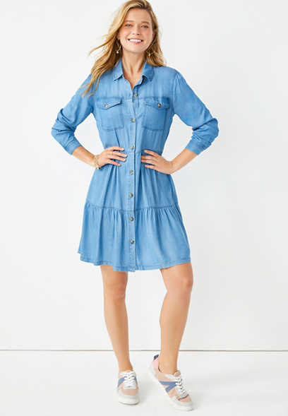 Washed Chambray Button Front Babydoll Dress