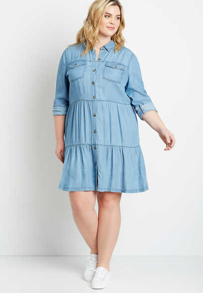 Plus Size Washed Chambray Button Front Babydoll Dress