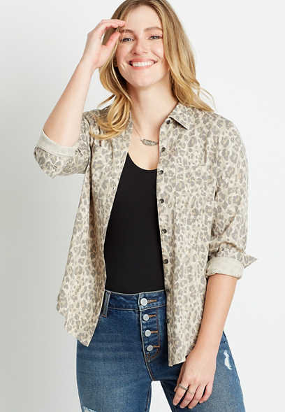 Leopard Button Down Utility Shirt
