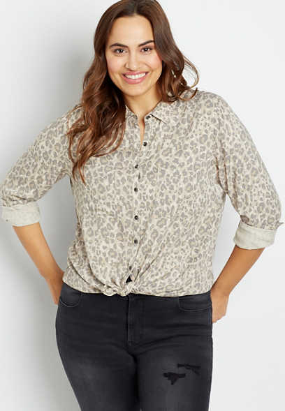 Plus Size Leopard Button Down Utility Shirt