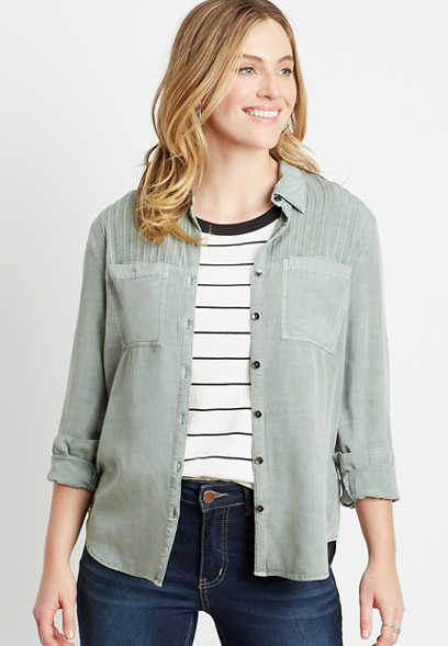 Olive Button Down Utility Shirt