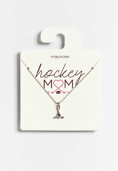 Dainty Silver Hockey Mom Necklace