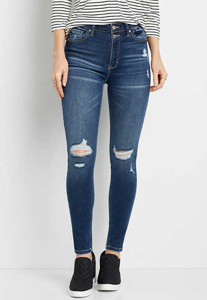 KanCan™ High Rise Dark Destructed Skinny Jean