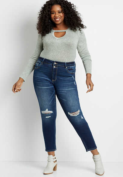 Plus Size KanCan™ High Rise Dark Destructed Skinny Jean