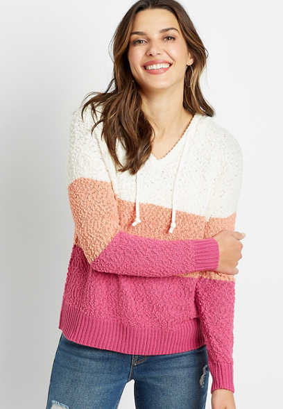 Pink Colorblock Hooded Pullover Sweater