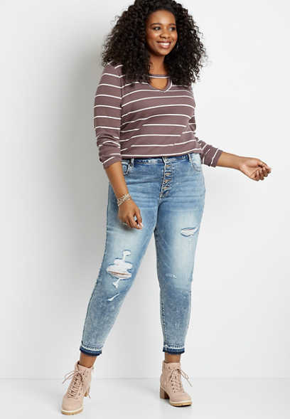 Plus Size KanCan™ High Rise Acid Wash Destructed Released Hem Skinny Jean
