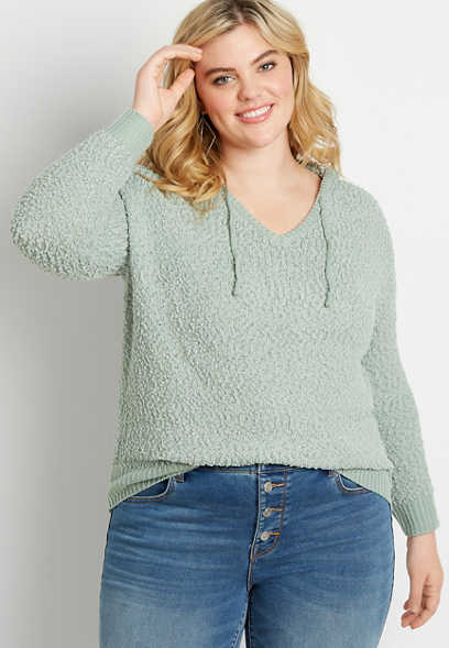 Plus Size Solid Hooded Pullover Sweater