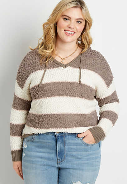Plus Size Brown Stripe Hooded Pullover Sweater