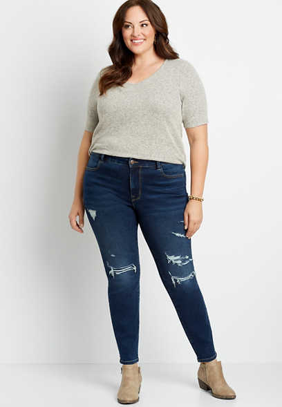 Plus Size High Rise Vintage Dark Destructed Jegging