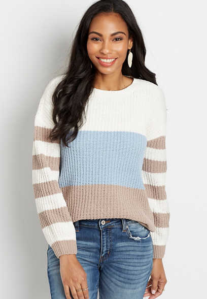 Colorblock Stripe Crew Neck Pullover Sweater