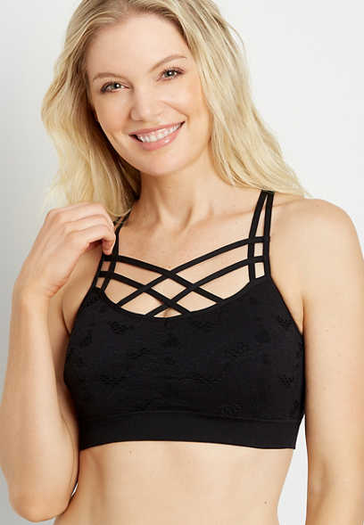 Black Strappy Neck Seamless Bralette