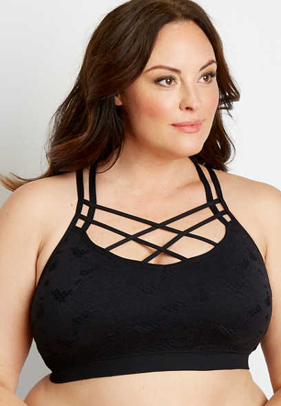 Plus Size Black Strappy Neck Seamless Bralette
