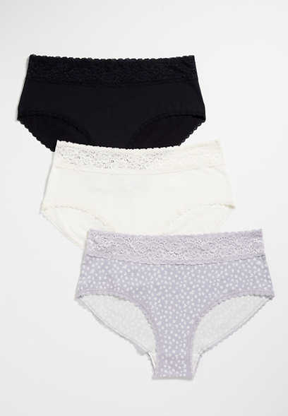 Plus Size 3 Pack Floral Cotton Brief Panties