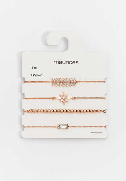 Rose Gold Mixed Pull Knot Bracelet Set