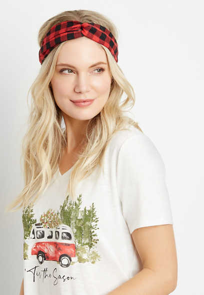 2 Pack Buffalo Plaid Headwrap Set
