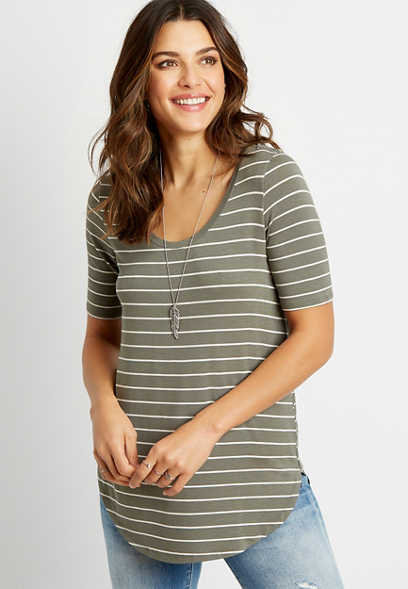 24/7 Olive Stripe Flawless Tee
