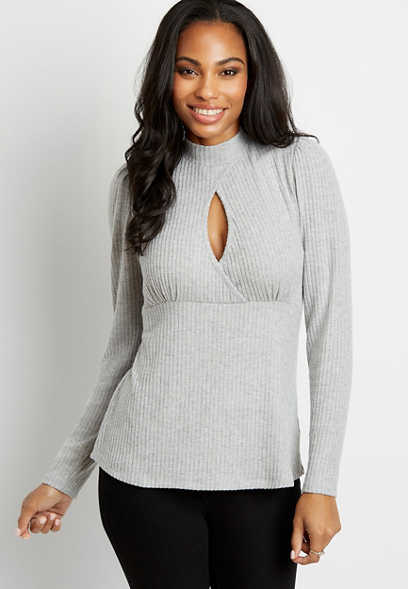 Solid Ribbed Mock Neck Keyhole Top