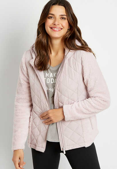 Lilac Quilted Front Sherpa Hooded Jacket