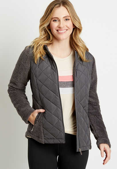 Gray Quilted Front Sherpa Hooded Jacket