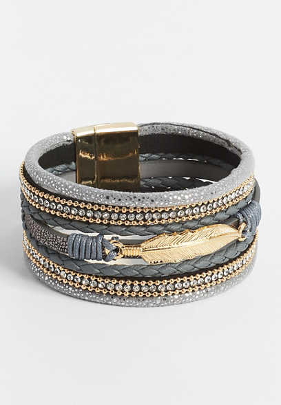 Gray Multi Row Feather Magnetic Bracelet