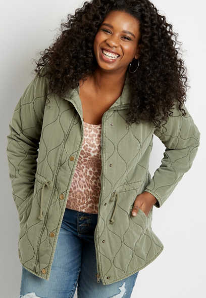 Plus Size Green Quilted Cinched Waist Jacket