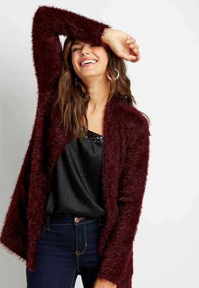 Wine Cozy Open Front Cardigan