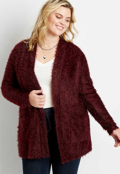 Plus Size Wine Cozy Open Front Cardigan