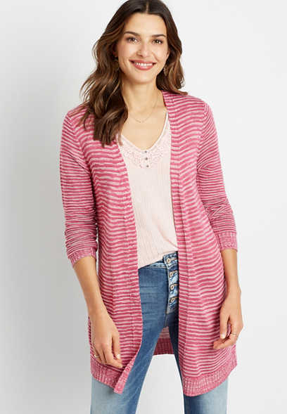 Striped Washed Yarn Cardigan