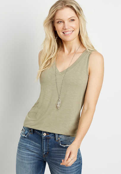 24/7 Solid V Neck Tank Top