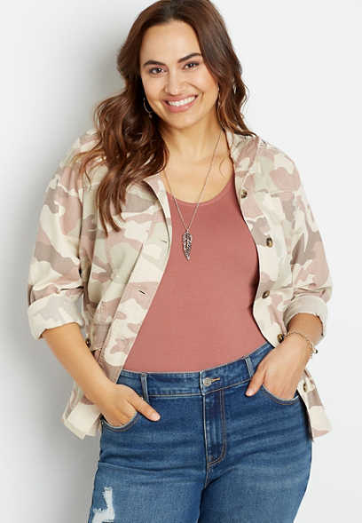 Plus Size Camo Quilted Yoke Utility Jacket
