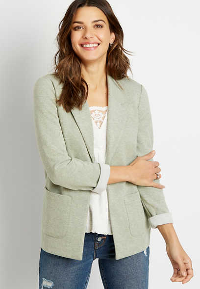 Light Green Knit Twill Boyfriend Blazer