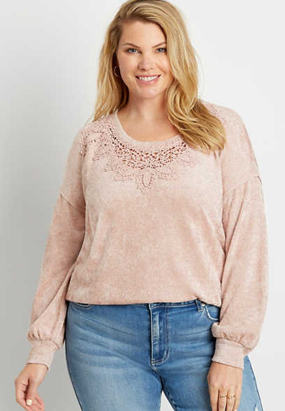 Plus Size Pink Metallic Crochet Trim Top