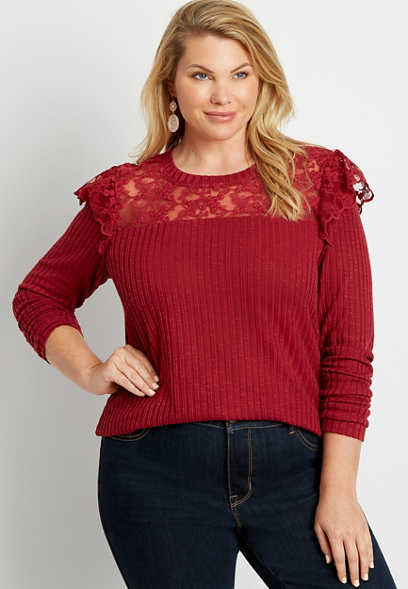 Plus Size Wine Lace Flutter Long Sleeve Tee