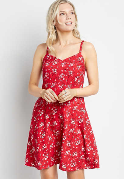 Americana Floral Smocked Back Mini Dress