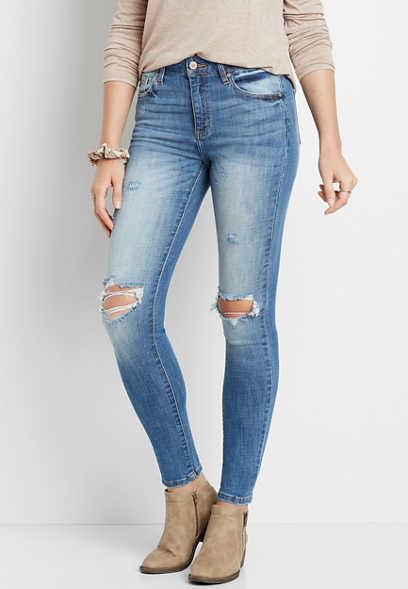 KanCan™ High Rise Medium Destructed Knee Skinny Jean