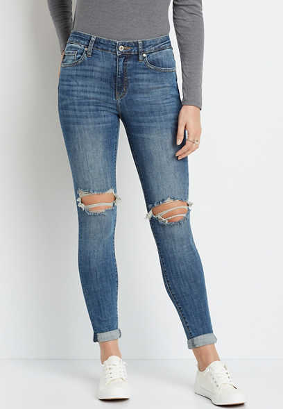 KanCan™ High Rise Medium Destructed Rolled Skinny Jean