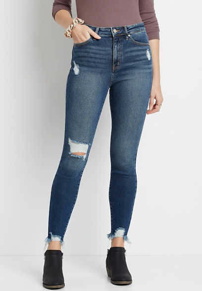 KanCan™ High Rise Dark Destructed Hem Skinny Jean