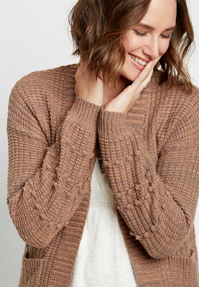 Solid Bobble Sleeve Open Front Cardigan