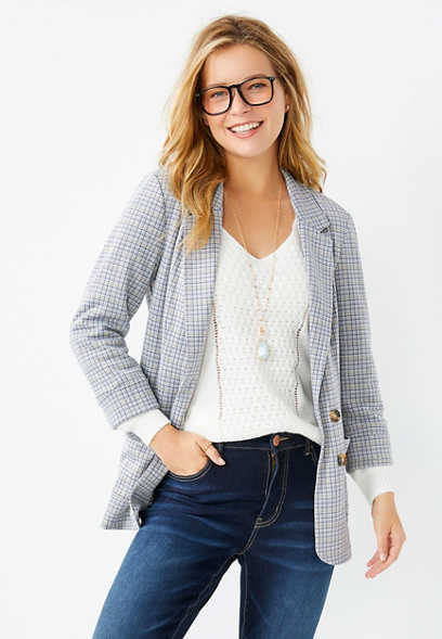 White Plaid Notch Collar Open Front Blazer