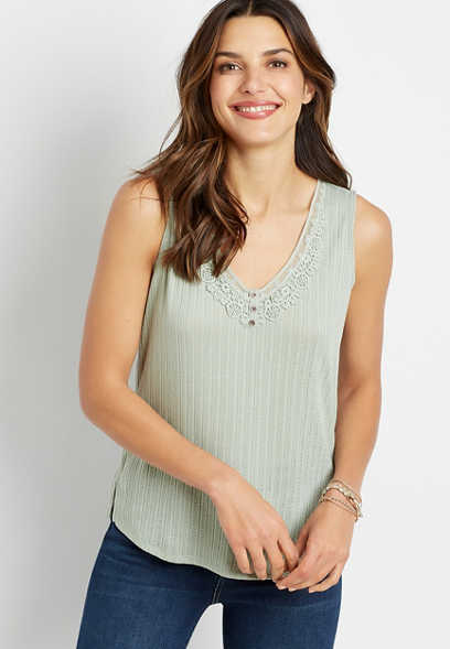 Solid Lace Henley Tank Top