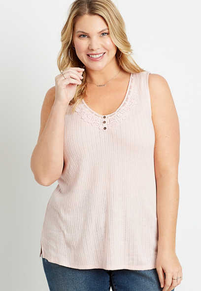 Plus Size Pink Lace Henley Tank Top