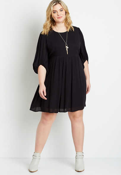 Plus Size Black Balloon Sleeve Babydoll Mini Dress
