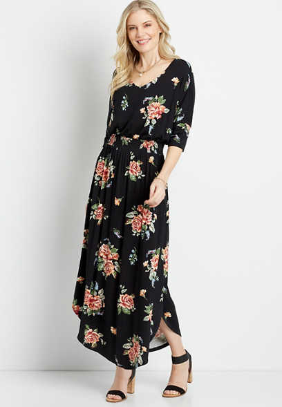 Black Floral Smocked Waist Maxi Dress