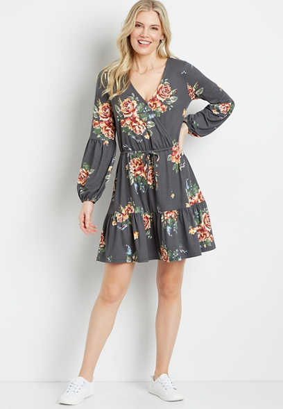 Gray Floral Cozy Tiered Mini Dress