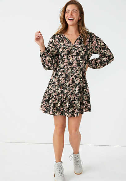 Black Floral Babydoll Mini Dress