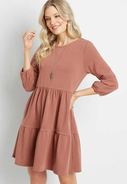 French Terry Babydoll Sweatshirt Dress