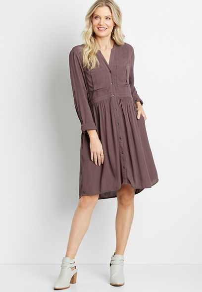Solid Button Down Shirt Dress
