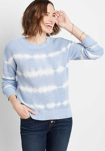 Blue Tie Dye Destructed Pullover Sweater