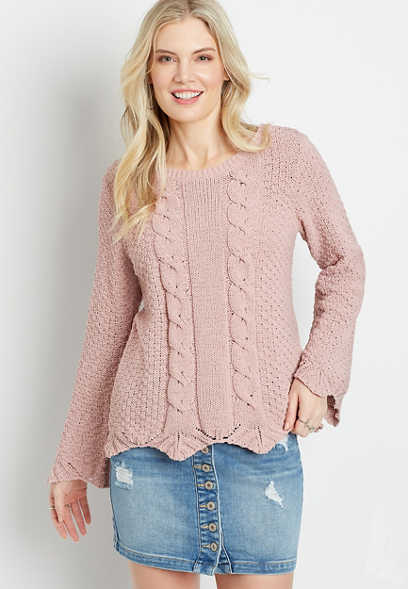 Pink Cable Knit Destructed Chenille Sweater