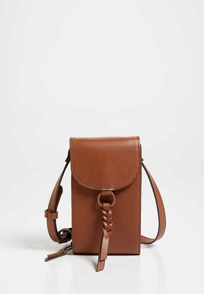 Cognac Braided Strap Crossbody Bag